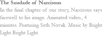 The Saudade of Narcissus In the final chapter of our story, Narcissus says farewell to his image. Animated video., 4 minutes. Featuring Seth Novak. Music by Bright Light Bright Light.
